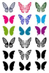 Unicolorous butterflies wings set