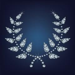 circular wreath for awards made up a lot of diamonds