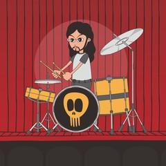 live band boy cartoon character