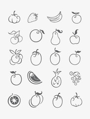 Fruits icon set, art vector decoration