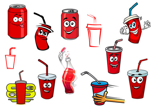 Cartoon cola and soda drinks