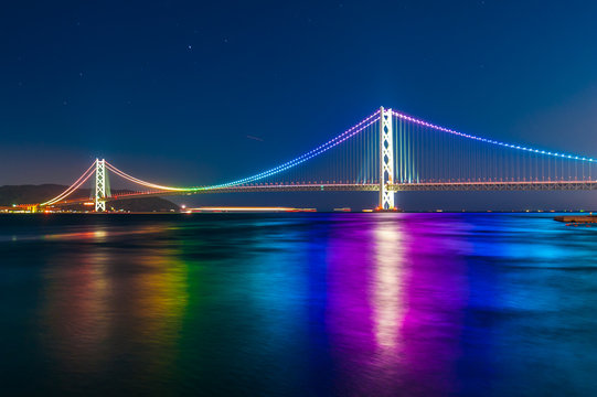sunset with Akashi Kaikyo bridge on twilight sky at Kobe port, J