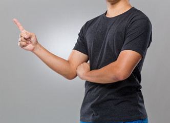 Man with finger point aside