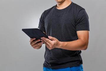Man use of digital tablet