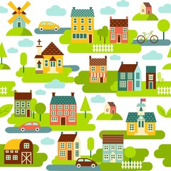 Seamless background with houses and city landscape