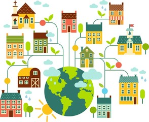 Planet earth with colorful houses and other buildings