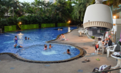 CCTV Camera or surveillance Operating on swimming pool