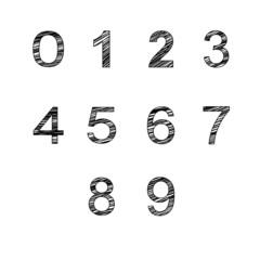 vector handmade numbers set