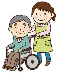 車いすに乗るおじいさん