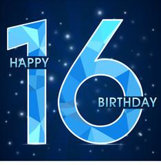 16 year birthday ,16th anniversary  polygon emblem