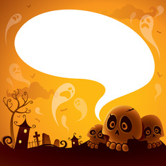 Halloween skull with speech bubble