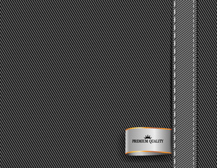 vector fabric textile background with ribbon tag