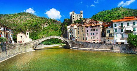 Poster Ligurie medieval villages of Italy- Dolceacqua, Liguria