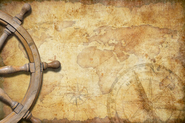 Wall Mural - aged treasure map with steering wheel