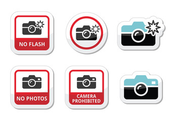 No photos, no cameras, no flash icons