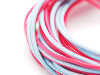 multicolored wire on a white background