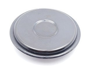 lid from the pan on a white background