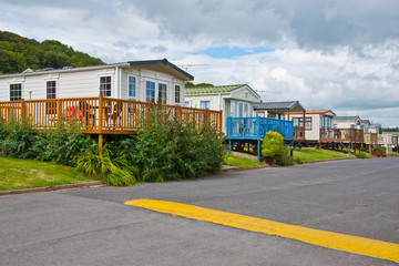 Luxurious static caravavans in holiday park