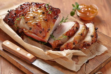 Baked ham with orange fruit jam