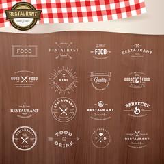 Set of vintage  elements for labels and badges for restaurants