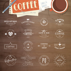 Set of vintage style elements for labels and badges for coffee