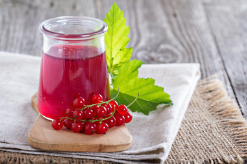 Red currant jelly in a jar