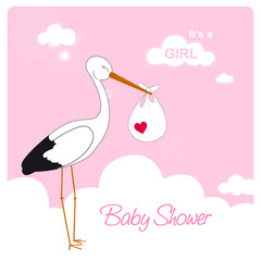 baby boy shower card, stork is carrying a baby girl