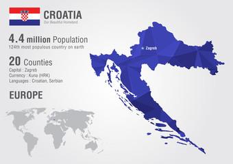 Wall Mural - Croatia world map with a pixel diamond texture.