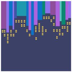 Abstract vector city at night