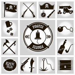 Isolated vector icons pirates