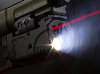 Laser aiming on a handgun