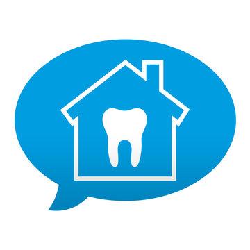 Etiqueta tipo app azul comentario simbolo clinica dental