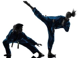 Foto op Aluminium Vechtsport karate vietvodao martial arts man woman couple silhouette