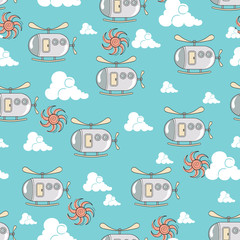 Vector pattern with funny cartoon helicopters