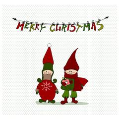 cute illustrated Christmas elves
