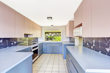 Kitchen room with blue and pink storage combination