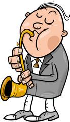 man with saxophone cartoon illustration