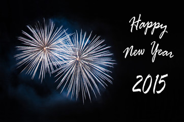Happy New Year 2015 card with fireworks