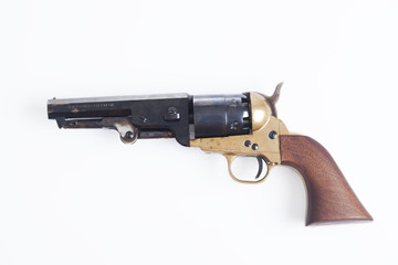 Old revolver on white background with clipping path