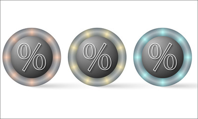 set of three icons with percent symbol