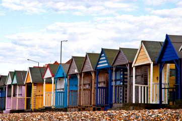 Beach huts close-up