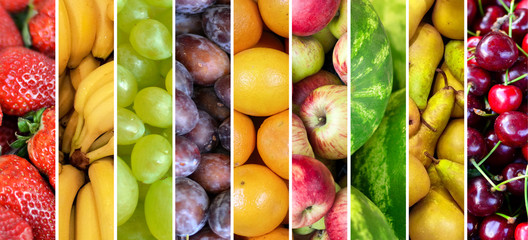 Fruit collage - Group of various fresh fruits