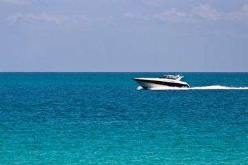 Cruising the ocean with a luxury boat