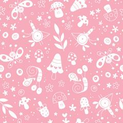 flowers, birds, mushrooms, butterflies, snails nature pattern