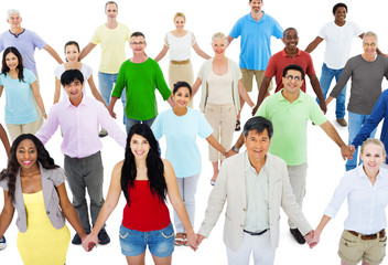 Multiethnic Group of People Holding Hands