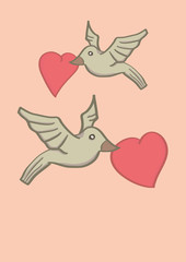 Two Birds Holding Heart Shape in Beaks and Flying in Air