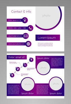 Brochure template - modern purple-white design - 8,5 x 11 inches