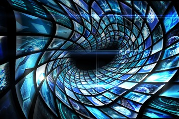 Vortex of digital screens in blue