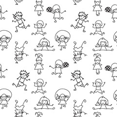 Black and white  Kids Doodles seamless Pattern