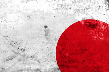 Japan Flag with a vintage and old look